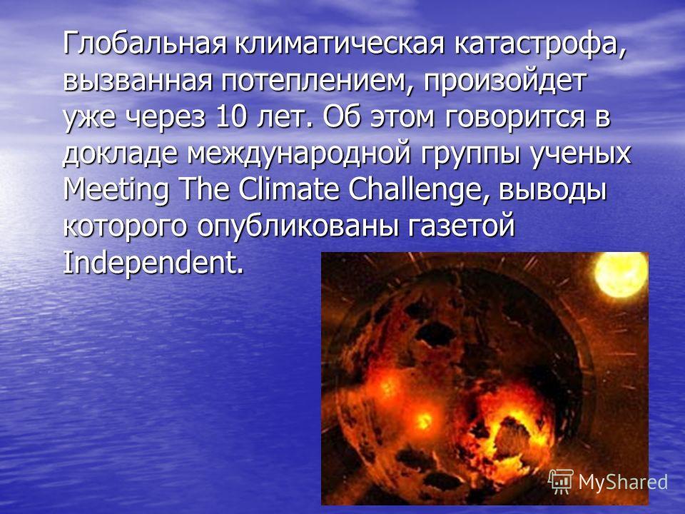 Глобальная климатическая катастрофа, вызванная потеплением, произойдет уже через 10 лет. Об этом говорится в докладе международной группы ученых Meeting The Climate Challenge, выводы которого опубликованы газетой Independent.