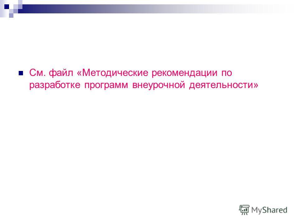 См. файл «Методические рекомендации по разработке программ внеурочной деятельности»