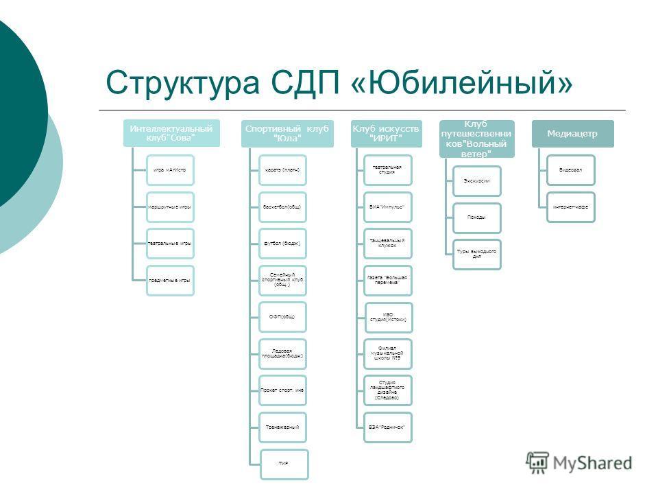 Структура СДП «Юбилейный» Интеллектуальный клуб