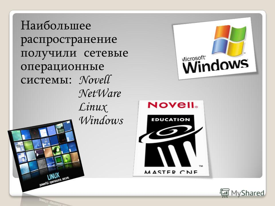 Наибольшее распространение получили сетевые операционные системы: Novell NetWare Linux Windows