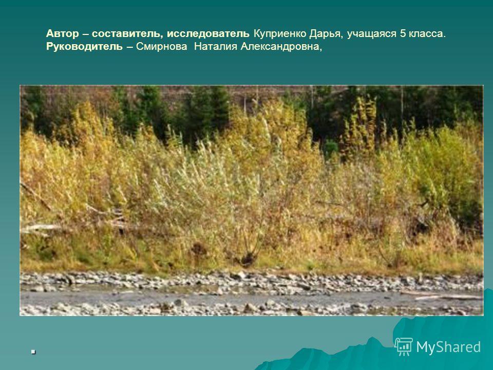 Автор – составитель, исследователь Куприенко Дарья, учащаяся 5 класса. Руководитель – Смирнова Наталия Александровна,.