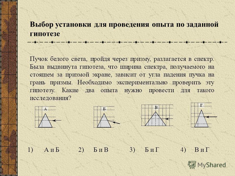 Выбор установки для проведения опыта по заданной гипотезе 1)А и Б2)Б и В3)Б и Г4)В и Г Пучок белого света, пройдя через призму, разлагается в спектр. Была выдвинута гипотеза, что ширина спектра, получаемого на стоящем за призмой экране, зависит от уг