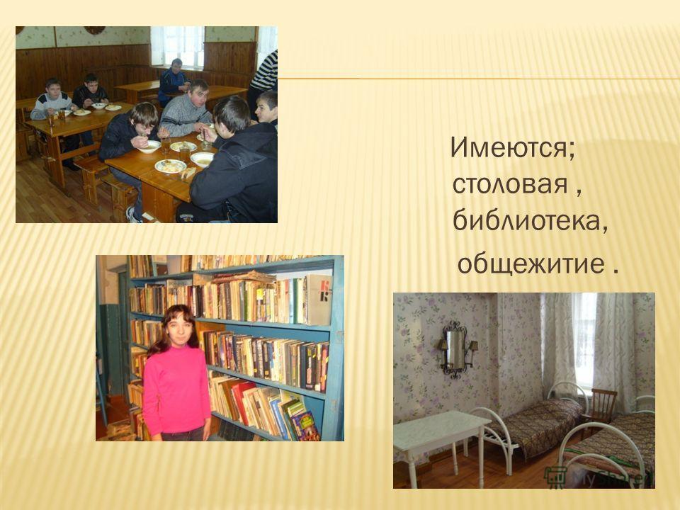 Имеются; столовая, библиотека, общежитие.