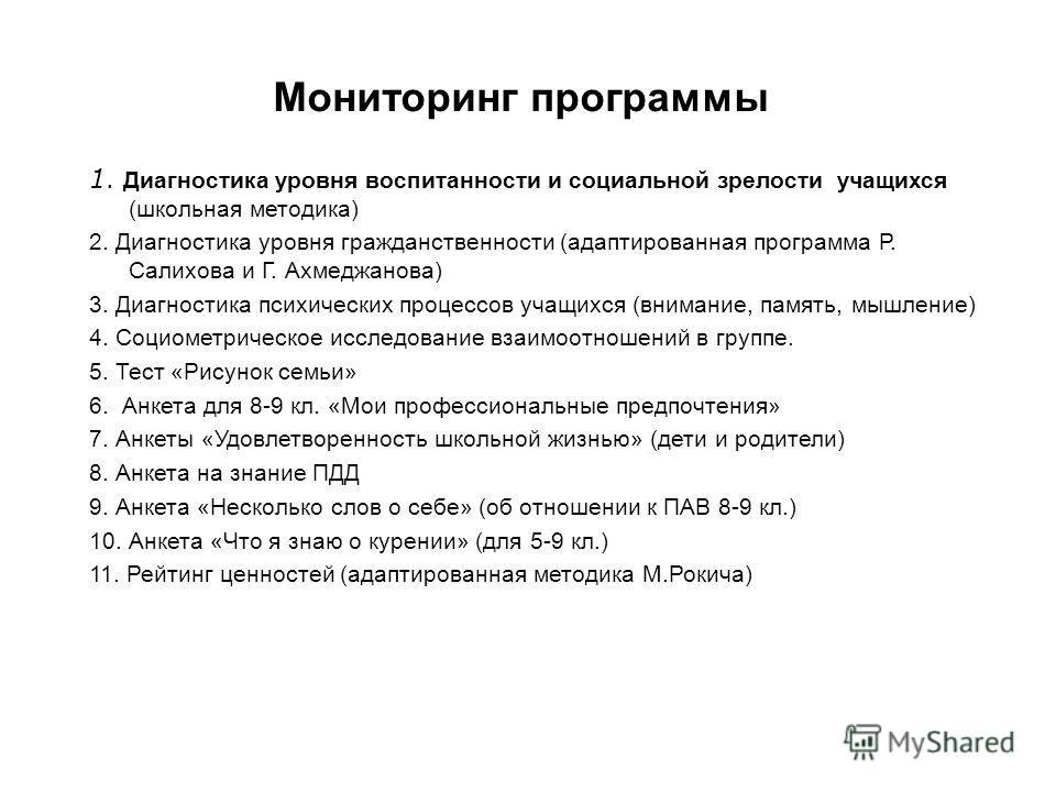 Мониторинг программы 1. Диагностика уровня воспитанности и социальной зрелости учащихся (школьная методика) 2. Диагностика уровня гражданственности (адаптированная программа Р. Салихова и Г. Ахмеджанова) 3. Диагностика психических процессов учащихся