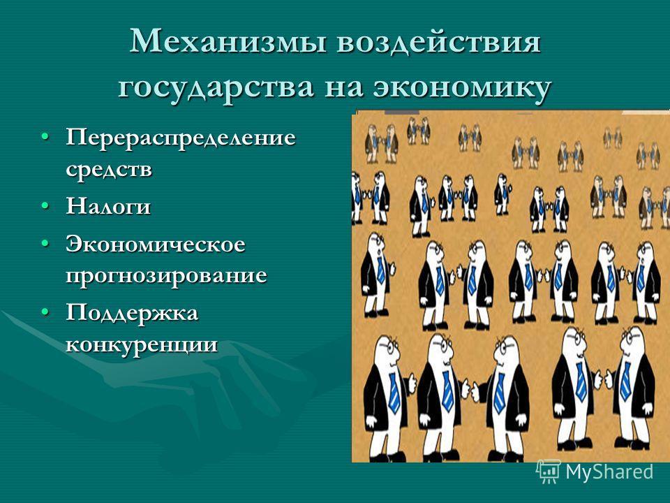 Механизмы воздействия государства на экономику Перераспределение средствПерераспределение средств НалогиНалоги Экономическое прогнозированиеЭкономическое прогнозирование Поддержка конкуренцииПоддержка конкуренции