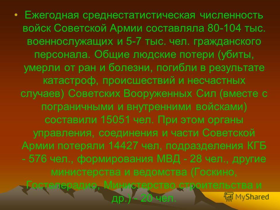 Ежегодная среднестатистическая численность войск Советской Армии составляла 80-104 тыс. военнослужащих и 5-7 тыс. чел. гражданского персонала. Общие людские потери (убиты, умерли от ран и болезни, погибли в результате катастроф, происшествий и несчас