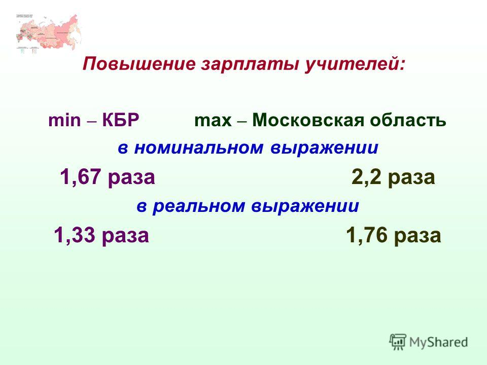 Повышение зарплаты учителей: min – КБРmax – Московская область в номинальном выражении 1,67 раза2,2 раза в реальном выражении 1,33 раза1,76 раза