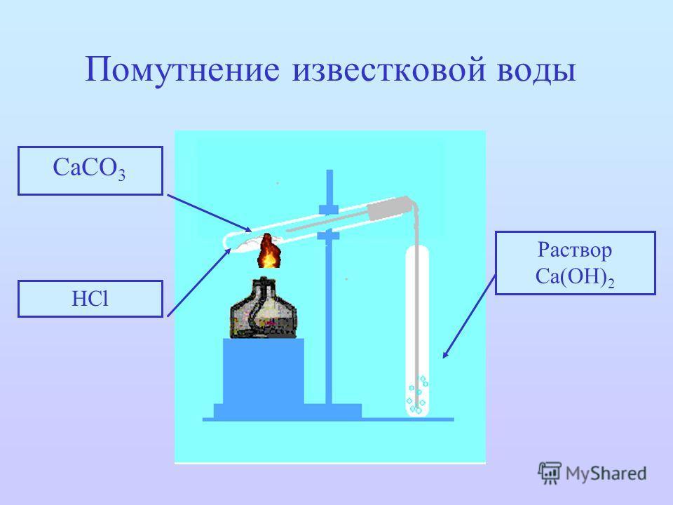 Помутнение известковой воды СаСО 3 НСl Раствор Са(ОН) 2