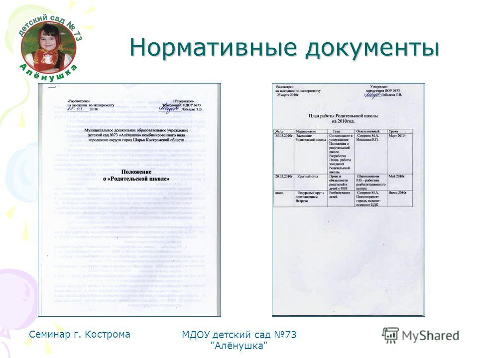 Семинар г. Кострома МДОУ детский сад 73 Алёнушка Нормативные документы