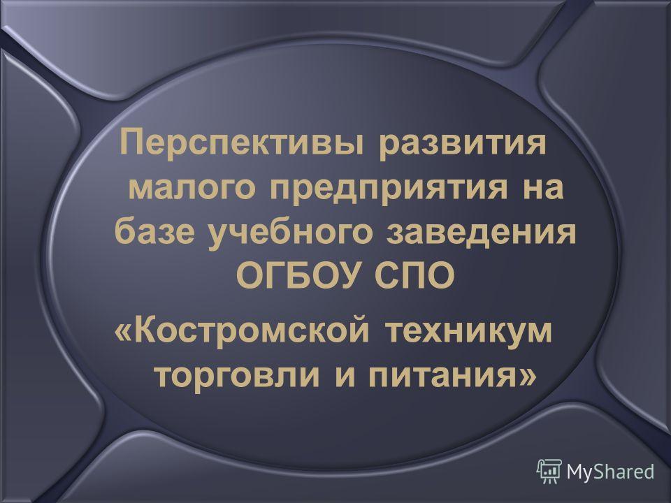 Перспективы развития малого предприятия на базе учебного заведения ОГБОУ СПО «Костромской техникум торговли и питания»