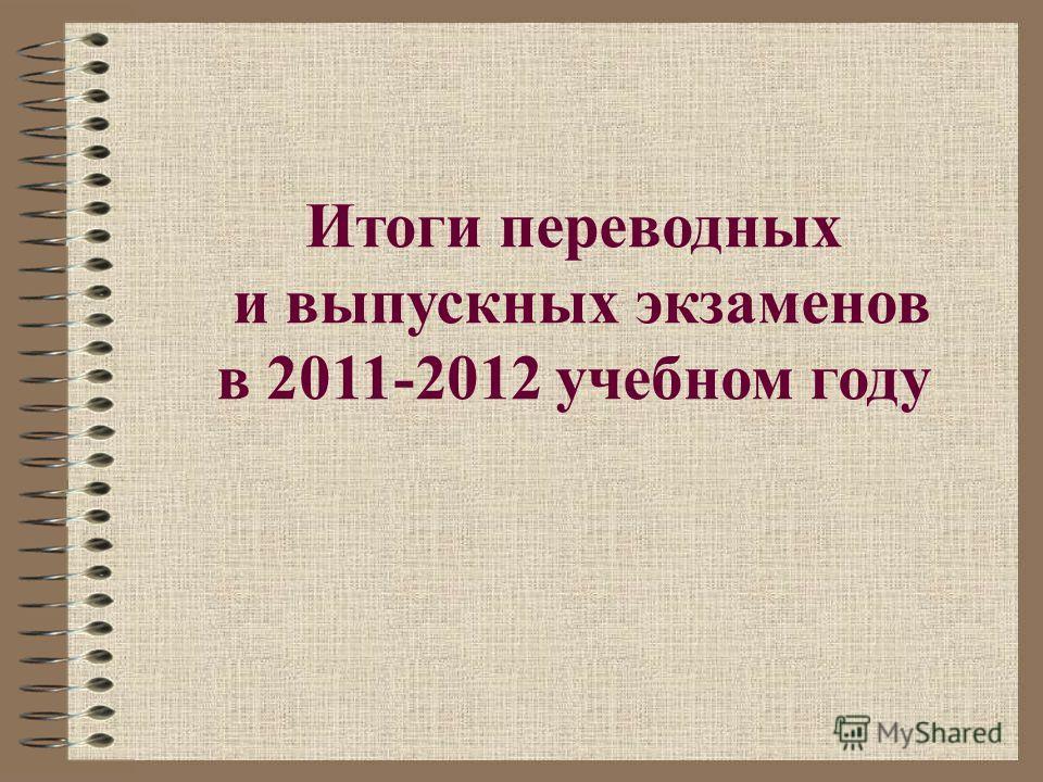 Итоги переводных и выпускных экзаменов в 2011-2012 учебном году