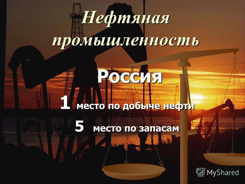 Нефтяная промышленность Россия Россия 1 место по добыче нефти 5 место по запасам