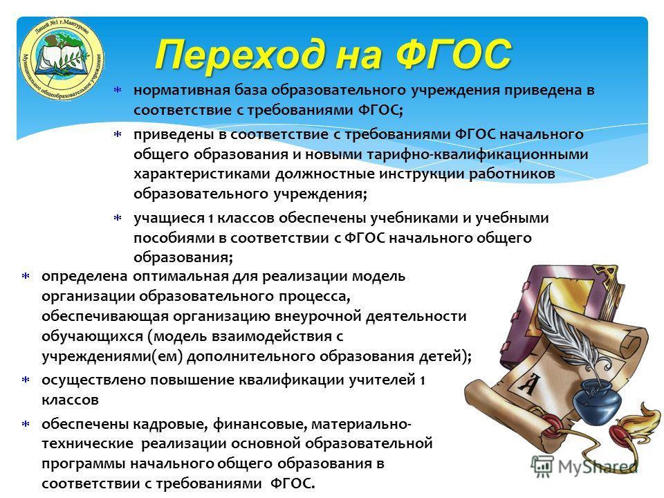 нормативная база образовательного учреждения приведена в соответствие с требованиями ФГОС; приведены в соответствие с требованиями ФГОС начального общего образования и новыми тарифно-квалификационными характеристиками должностные инструкции работнико