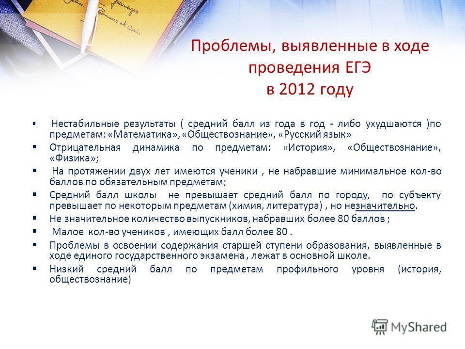 Проблемы, выявленные в ходе проведения ЕГЭ в 2012 году Нестабильные результаты ( средний балл из года в год - либо ухудшаются )по предметам: «Математика», «Обществознание», «Русский язык» Отрицательная динамика по предметам: «История», «Обществознани