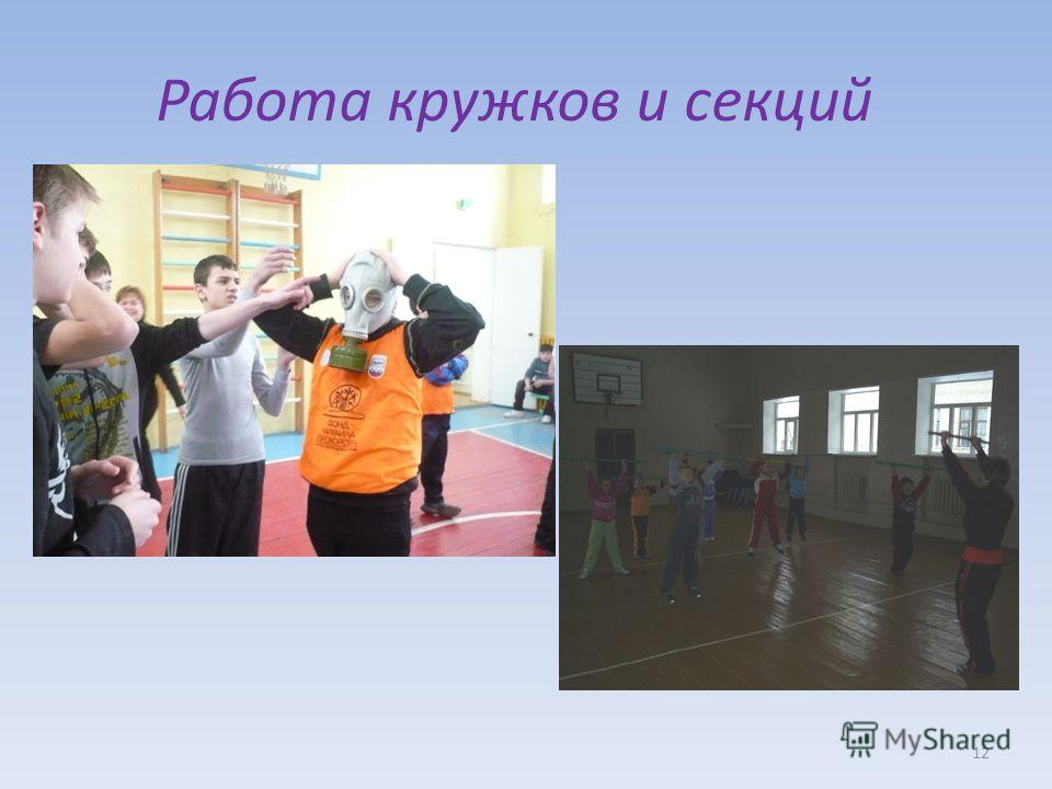 Работа кружков и секций 12