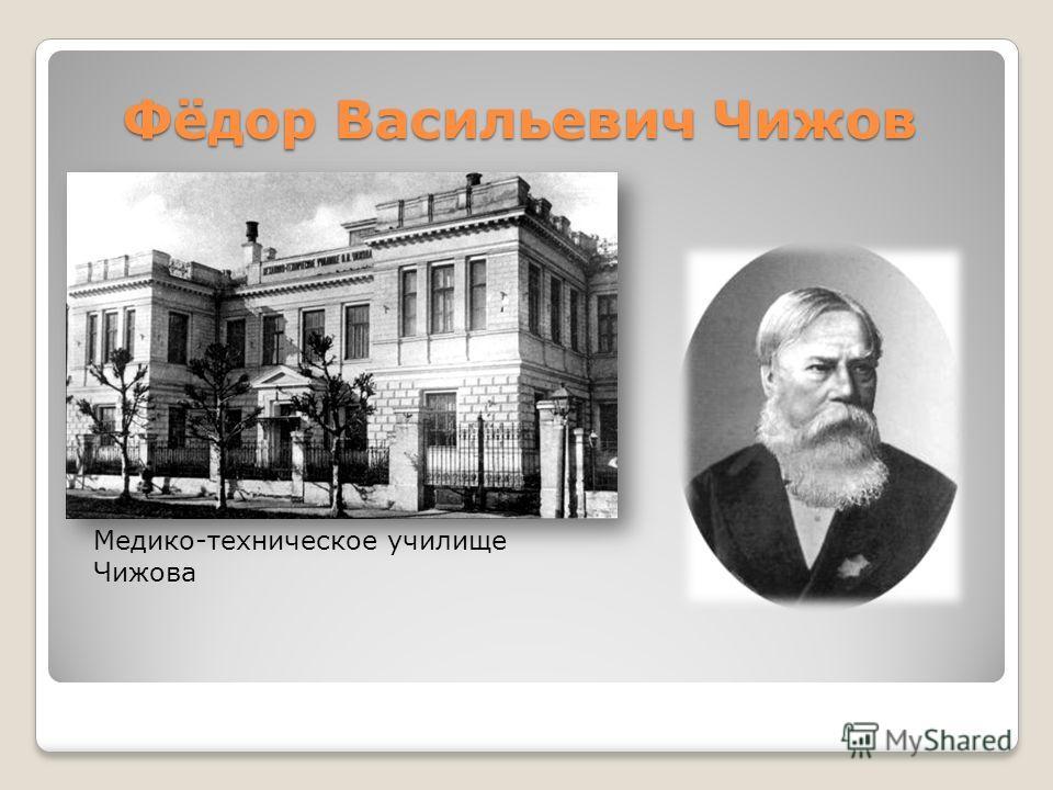 Фёдор Васильевич Чижов Медико-техническое училище Чижова