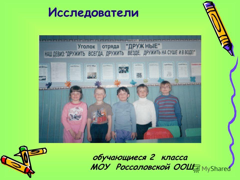 Исследователи обучающиеся 2 класса МОУ Россоловской ООШ