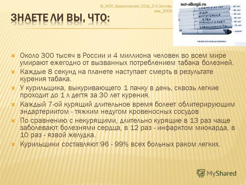 Около 300 тысяч в России и 4 миллиона человек во всем мире умирают ежегодно от вызванных потреблением табака болезней. Каждые 8 секунд на планете наступает смерть в результате курения табака. У курильщика, выкуривающего 1 пачку в день, сквозь легкие