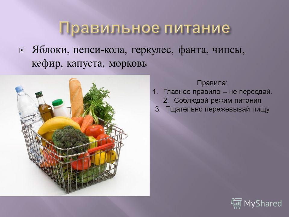Яблоки, пепси - кола, геркулес, фанта, чипсы, кефир, капуста, морковь Правила: 1.Главное правило – не переедай. 2.Соблюдай режим питания 3.Тщательно пережевывай пищу
