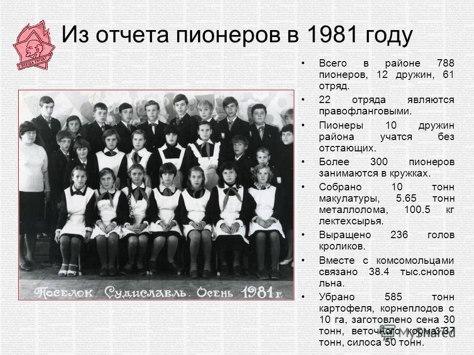 Из отчета пионеров в 1981 году Всего в районе 788 пионеров, 12 дружин, 61 отряд. 22 отряда являются правофланговыми. Пионеры 10 дружин района учатся без отстающих. Более 300 пионеров занимаются в кружках. Собрано 10 тонн макулатуры, 5.65 тонн металло