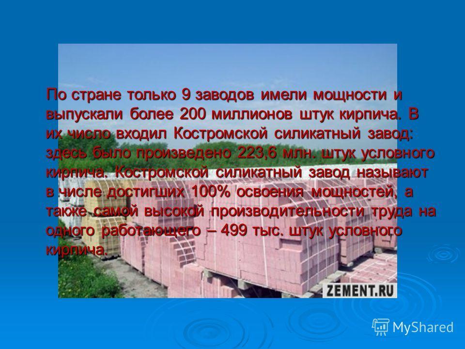 По стране только 9 заводов имели мощности и выпускали более 200 миллионов штук кирпича. В их число входил Костромской силикатный завод: здесь было произведено 223,6 млн. штук условного кирпича. Костромской силикатный завод называют в числе достигших