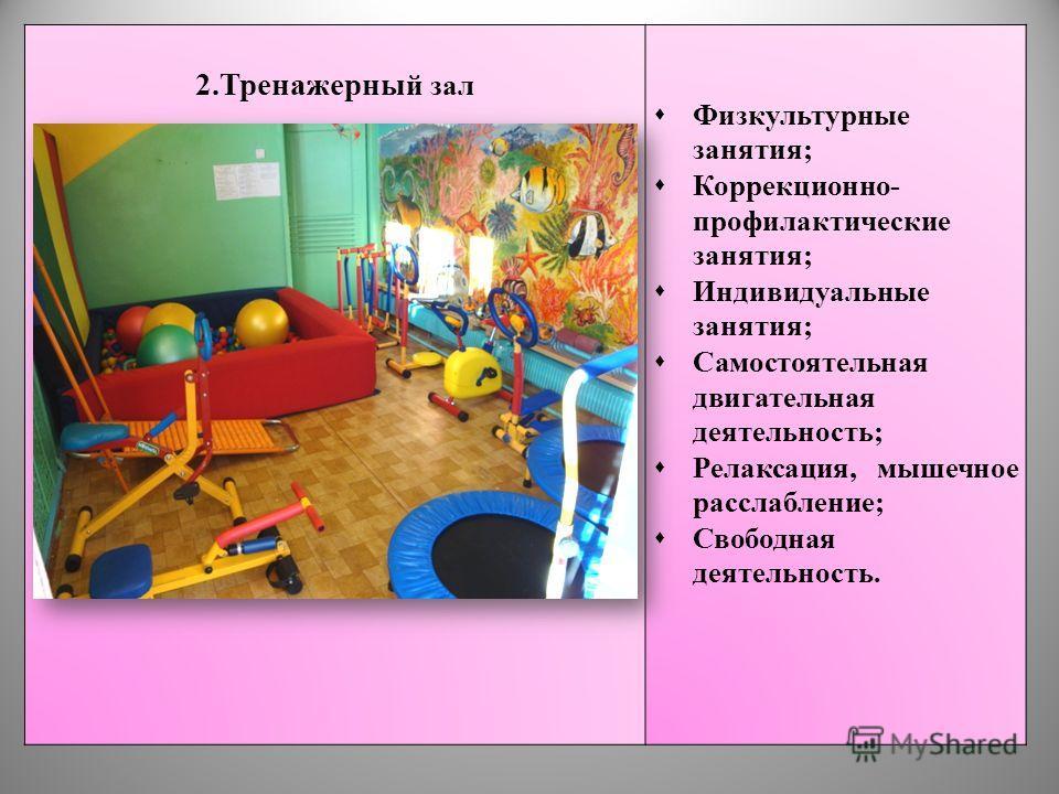 2.Тренажерны й зал Физкультурные занятия; Коррекционно- профилактические занятия; Индивидуальные занятия; Самостоятельная двигательная деятельность; Релаксация, мышечное расслабление; Свободная деятельность.