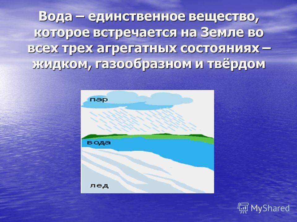 Вода – единственное вещество, которое встречается на Земле во всех трех агрегатных состояниях – жидком, газообразном и твёрдом