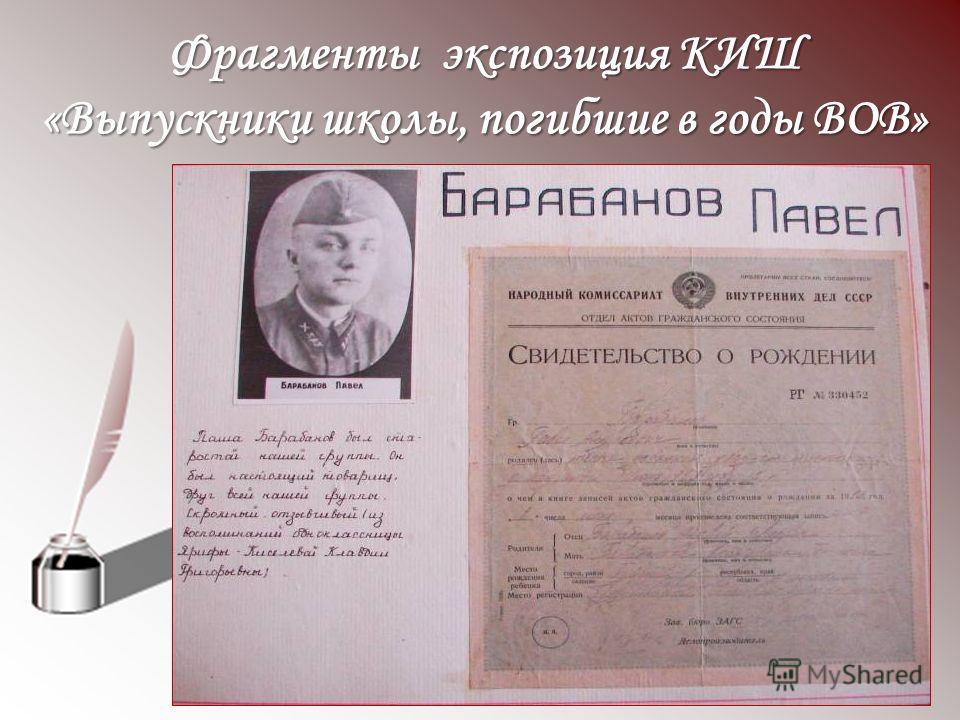 Фрагменты экспозиция КИШ «Выпускники школы, погибшие в годы ВОВ»