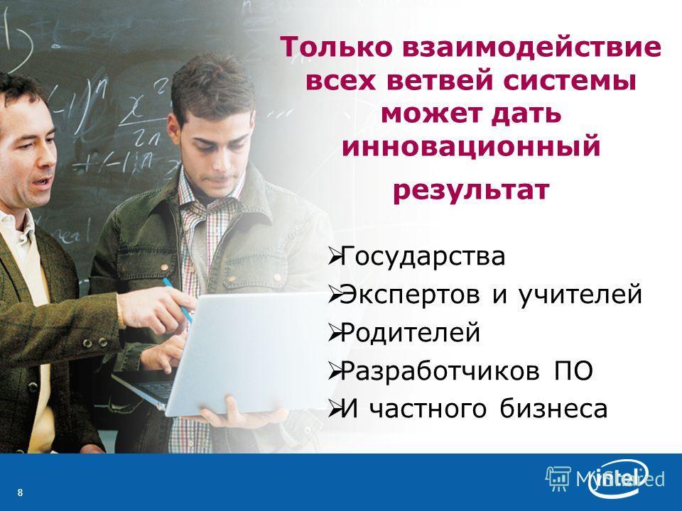 88 Только взаимодействие всех ветвей системы может дать инновационный результат Государства Экспертов и учителей Родителей Разработчиков ПО И частного бизнеса