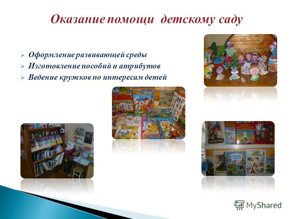 Оформление развивающей среды Изготовление пособий и атрибутов Ведение кружков по интересам детей