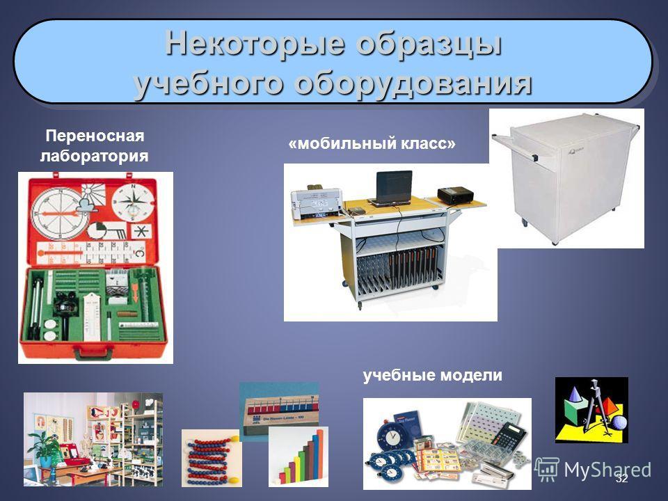 32 Некоторые образцы учебного оборудования Некоторые образцы учебного оборудования «мобильный класс» Переносная лаборатория учебные модели