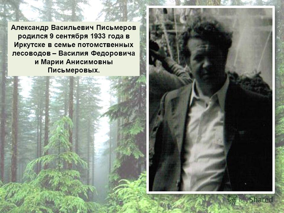 Александр Васильевич Письмеров родился 9 сентября 1933 года в Иркутске в семье потомственных лесоводов – Василия Федоровича и Марии Анисимовны Письмеровых.