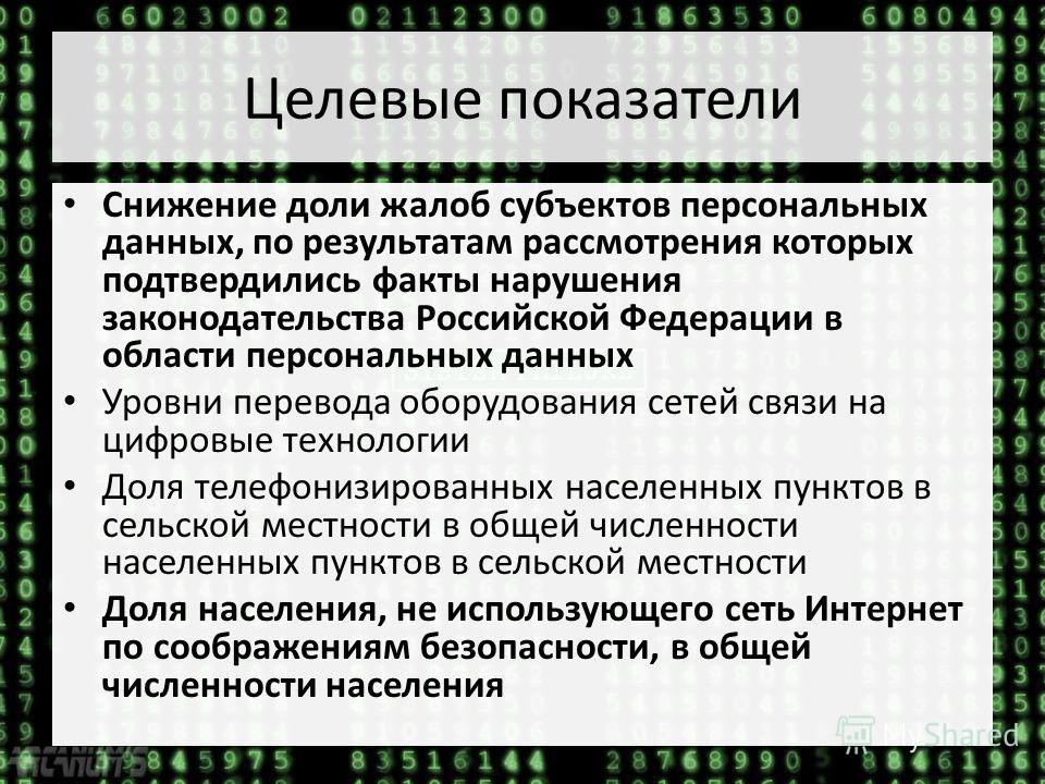 Целевые показатели Снижение доли жалоб субъектов персональных данных, по результатам рассмотрения которых подтвердились факты нарушения законодательства Российской Федерации в области персональных данных Уровни перевода оборудования сетей связи на ци