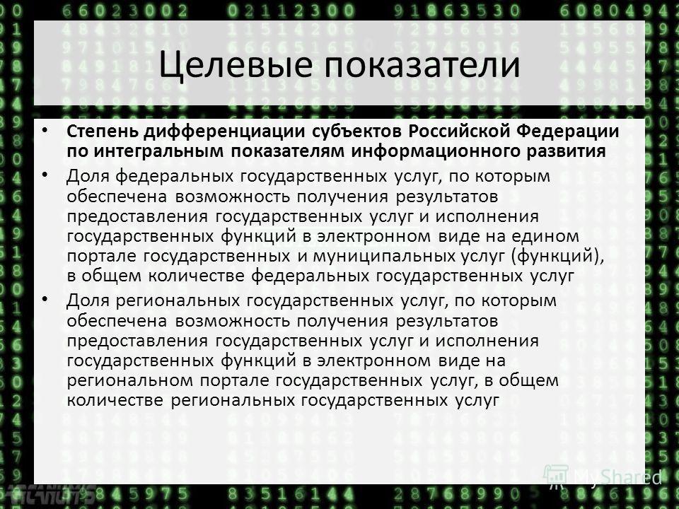 Целевые показатели Степень дифференциации субъектов Российской Федерации по интегральным показателям информационного развития Доля федеральных государственных услуг, по которым обеспечена возможность получения результатов предоставления государственн