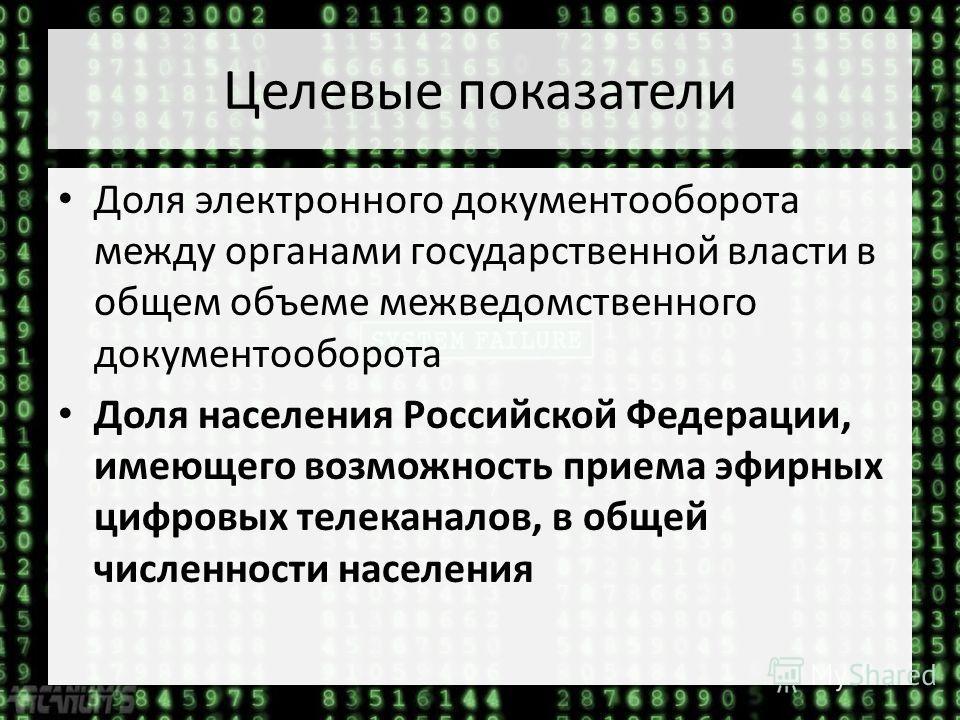 Целевые показатели Доля электронного документооборота между органами государственной власти в общем объеме межведомственного документооборота Доля населения Российской Федерации, имеющего возможность приема эфирных цифровых телеканалов, в общей числе