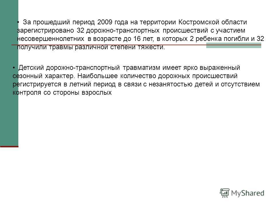 За прошедший период 2009 года на территории Костромской области зарегистрировано 32 дорожно-транспортных происшествий с участием несовершеннолетних в возрасте до 16 лет, в которых 2 ребенка погибли и 32 получили травмы различной степени тяжести. Детс