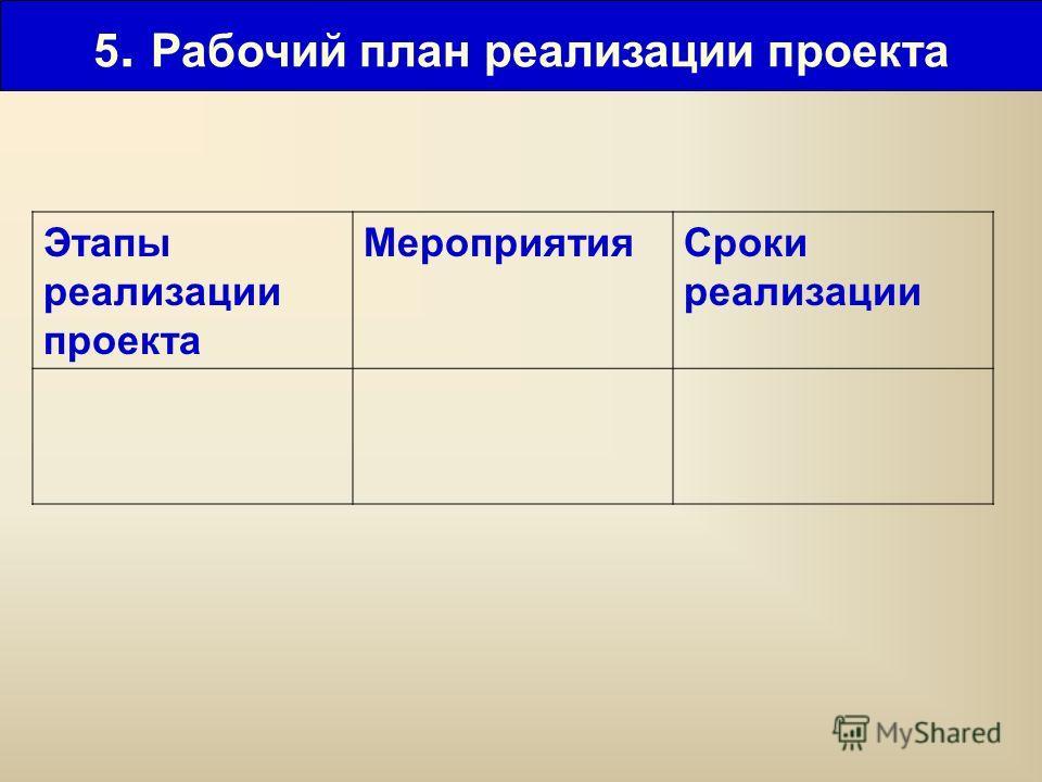 5. Рабочий план реализации проекта Этапы реализации проекта МероприятияСроки реализации