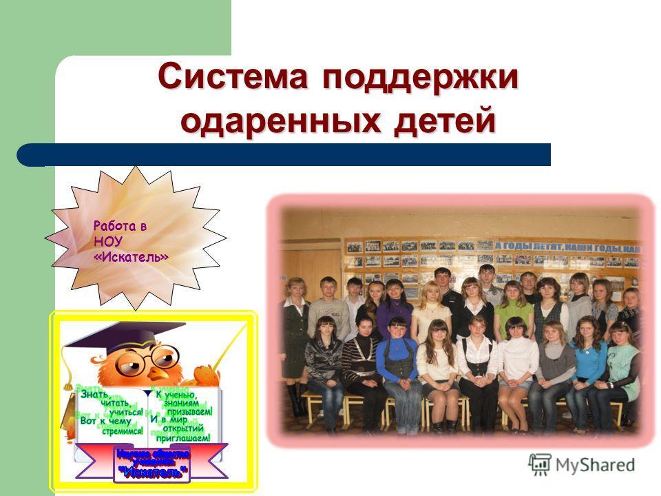 Система поддержки одаренных детей Работа в НОУ «Искатель»
