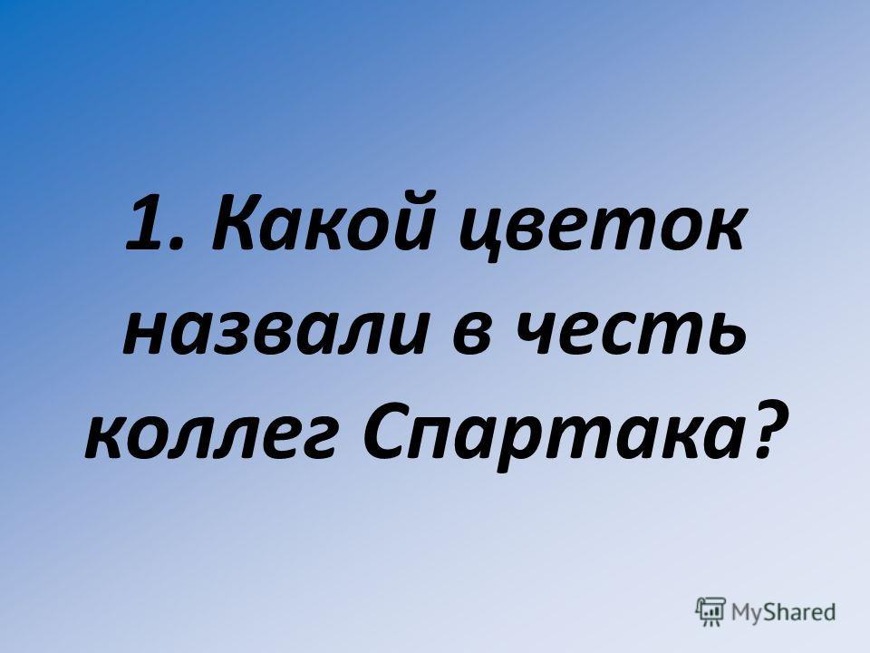 1. Какой цветок назвали в честь коллег Спартака?
