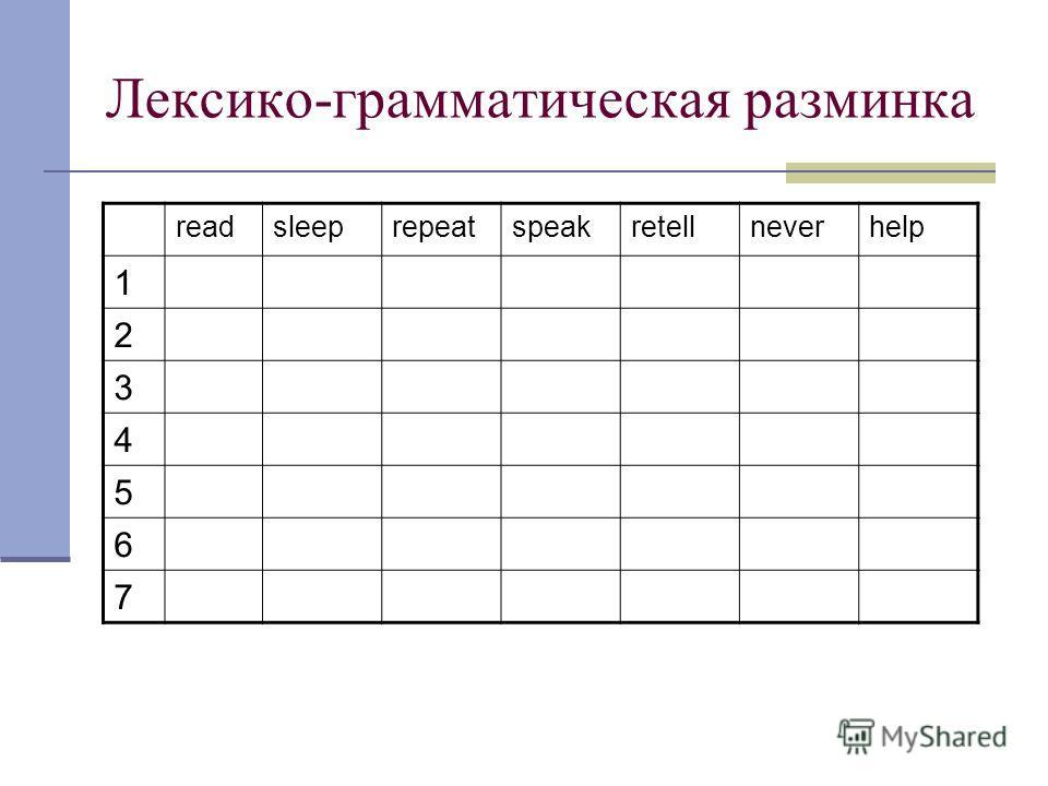 Лексико-грамматическая разминка readsleeprepeatspeakretellneverhelp 1 2 3 4 5 6 7