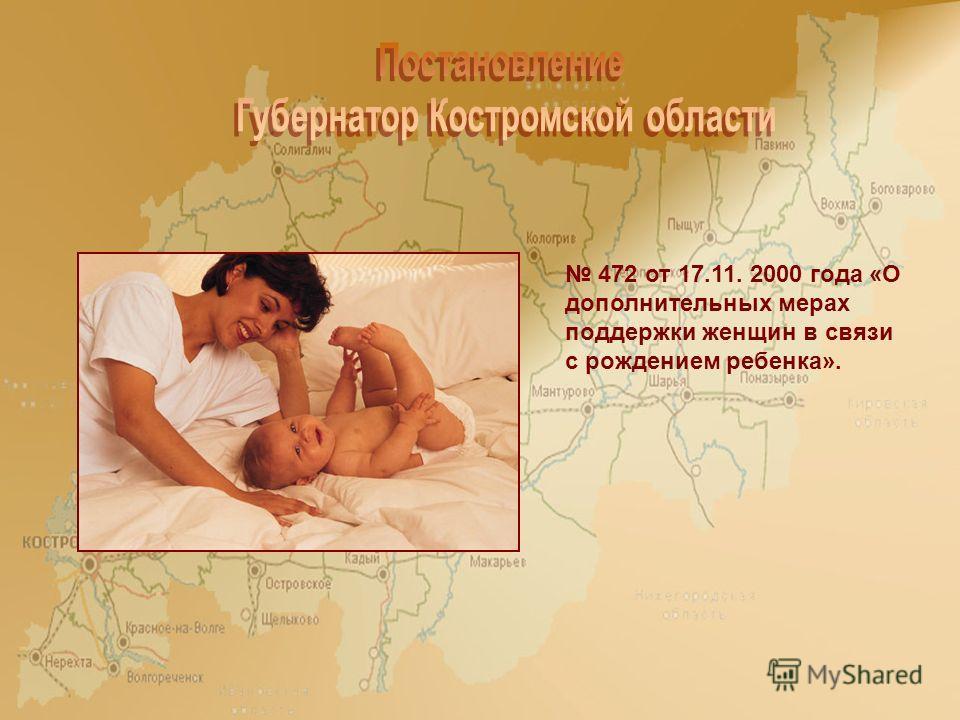 472 от 17.11. 2000 года «О дополнительных мерах поддержки женщин в связи с рождением ребенка».
