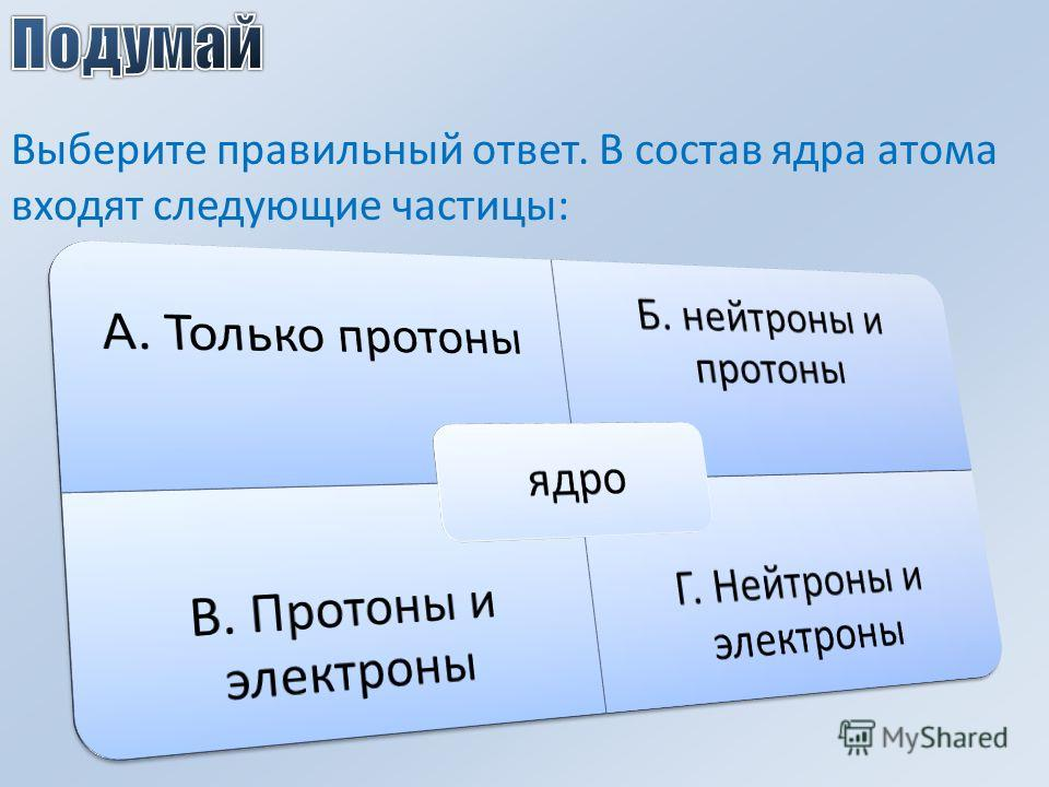 Выберите правильный ответ. В состав ядра атома входят следующие частицы: