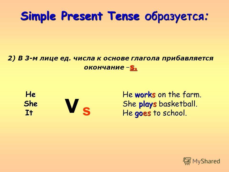 Simple Present Tense образуется : 2) В 3-м лице ед. числа к основе глагола прибавляется s. окончание – s. HeSheIt V He works on the farm. She plays basketball. He goes to school. s
