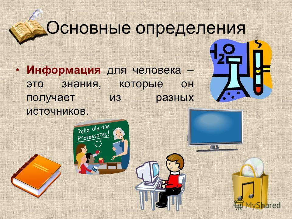 Основные определения Информация для человека – это знания, которые он получает из разных источников.