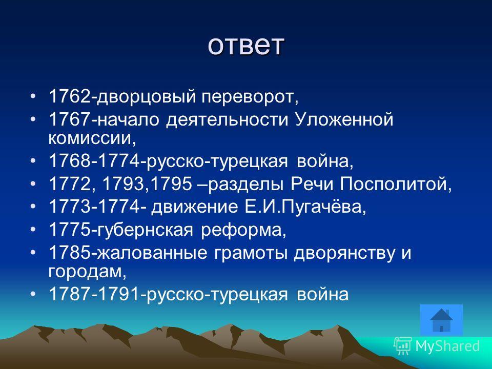вопрос Назовите не менее 6 дат, связанных с правлением императрицы Екатерины II подсказка