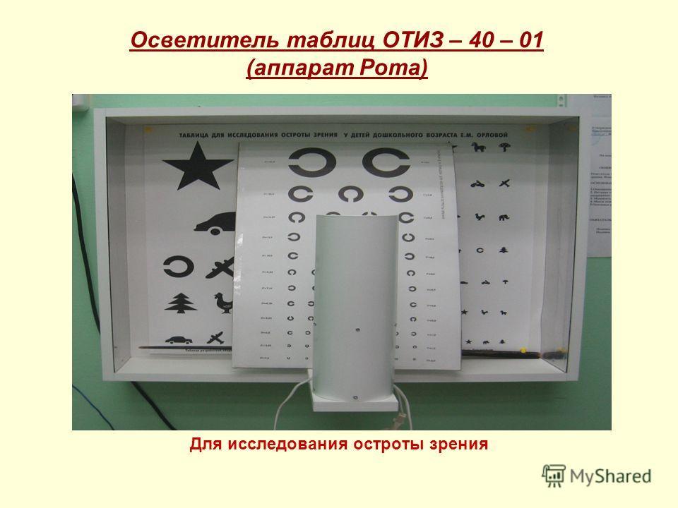 Осветитель таблиц ОТИЗ – 40 – 01 (аппарат Рота) Для исследования остроты зрения
