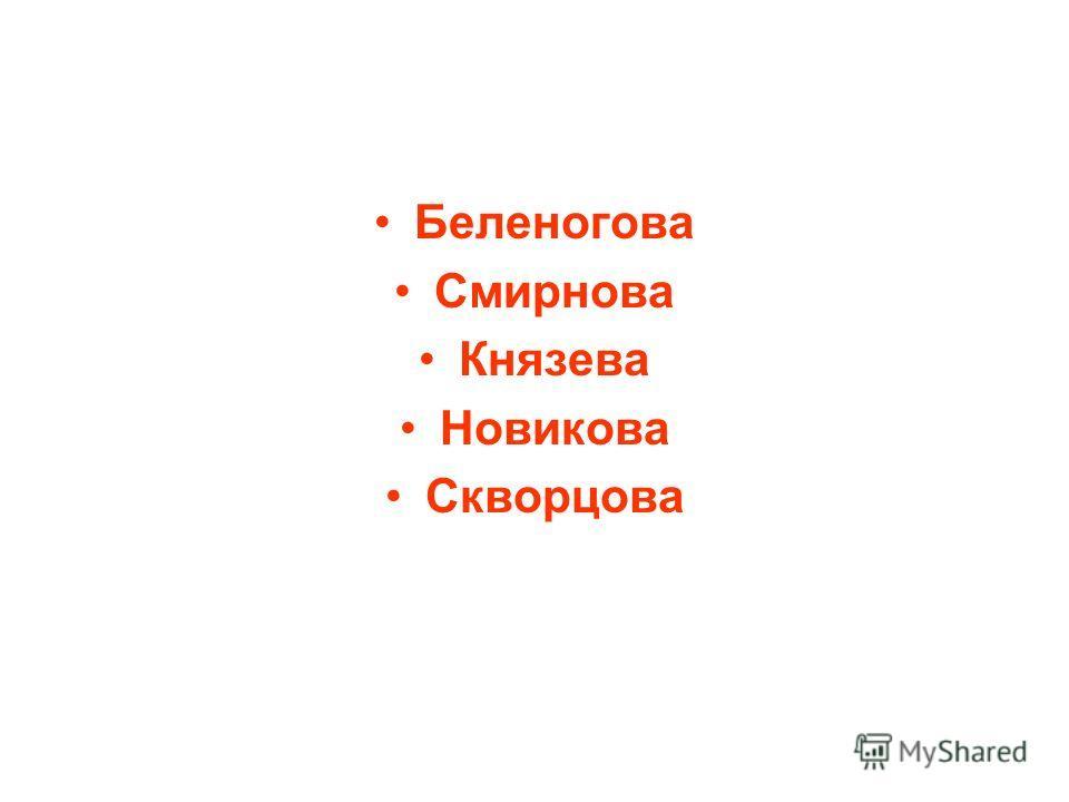 Беленогова Смирнова Князева Новикова Скворцова