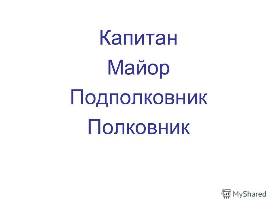 Капитан Майор Подполковник Полковник