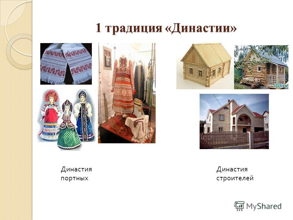 1 традиция «Династии» Династия портных Династия строителей