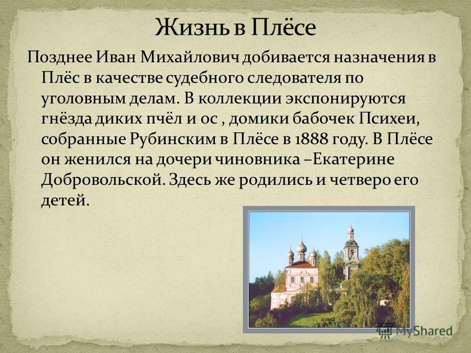 Позднее Иван Михайлович добивается назначения в Плёс в качестве судебного следователя по уголовным делам. В коллекции экспонируются гнёзда диких пчёл и ос, домики бабочек Психеи, собранные Рубинским в Плёсе в 1888 году. В Плёсе он женился на дочери ч